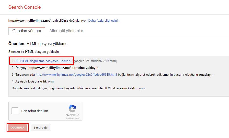 search-console-html-dosyası-doğrulama