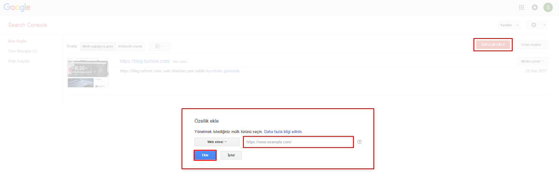 search console site ekleme